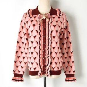 Pink Argyle Heart Ruffle Cardigan